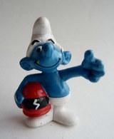 RARE Figurine SCHTROUMPF MOTARD PUBLICITAIRE FEU ORANGE SMURF PITUFO SCHLUMPH 1991 (2) - Smurfs