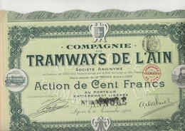 COMPAGNIE DES TRAMWAYS DE L'AIN  - LOT DE 5 ACTIONS DE CENT FRANCS   -ANNEE 1906 - Chemin De Fer & Tramway