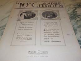 ANCIENNE PUBLICITE VOITURE LA 10 HP  DE ANDRE CITROEN  1920 - Voitures