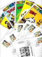 [MD2387] CPM - SERIE COMPLETA DI 12 CARTOLINE CON POCHETTE E ANNULLI - TERAMO COMIX 2010 - TIRATURA 500 COPIE - NV - Fumetti