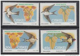 D90819 Ciskei South Africa 1984 MIGRATORY BIRDS SWALLOWS MNH Set- Afrique Du Sud Afrika RSA Sudafrika - Ciskei