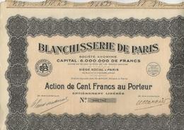 BLANCHISSERIE DE PARIS - ACTION DE 100 FRANCS - ANNEE 1929 - Actions & Titres
