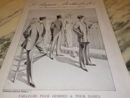 ANCIENNE PUBLICITE CREATION PAQUIN BERTHOLLE TAILLEUR COURSE  1912 - Publicités