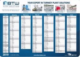 Österreich Gleisdorf Kalender 2019 BWT Plant Solutions - Calendriers