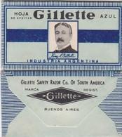 GILLETTE AZUL, INDUSTRIA ARGENTINA. RAZOR BLADE LAME DE RAISOR HOJA DE AFEITAR. CIRCA 1940s-BLEUP - Scheermesjes