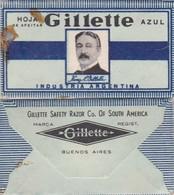 GILLETTE AZUL, INDUSTRIA ARGENTINA. RAZOR BLADE LAME DE RAISOR HOJA DE AFEITAR. CIRCA 1940s-BLEUP - Lames De Rasoir