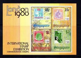 SINGAPORE   1980      International  Stamp  Exhibition  London     Sheetlet     MNH - Singapore (1959-...)
