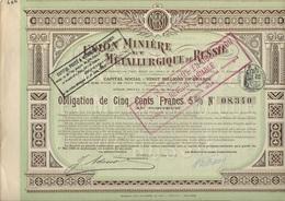 UNION MINIERE ET METALLURGIQUE DE RUSSIE  - OBLIGATION DE 500 FRS  5 %- ANNEE 1913 - Mines