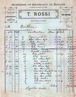 2A - AJACCIO Corse T. ROSSI Commerce De Matériaux De Batisse 1891 Timbre Quittance - Petits Métiers