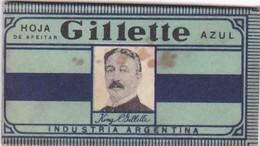 GILLETTE AZUL, INDUSTRIA ARGENTINA. RAZOR BLADE LAME DE RAISOR HOJA DE AFEITAR. CIRCA 1940s-BLEUP - Razor Blades