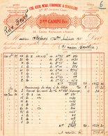 2A - AJACCIO Corse CAMPI Fers Aciers Metaux Ferronnerie Et Quincaillerie 1891 Timbre Quittances - Petits Métiers