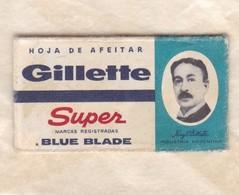 GILLETTE SUPER BLUE BLADE, INDUSTRIA ARGENTINA. RAZOR BLADE LAME DE RAISOR HOJA DE AFEITAR. CIRCA 1940s-BLEUP - Razor Blades