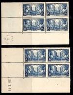 France YT N° 427 En Blocs De 4 Coins Datés Neufs ** MNH. 1938 Et 1939. TB. A Saisir! - Coins Datés