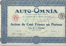 AUTO - OMNIA - ACTION DE CENT FRANCS - ANNEE 1921 - Mines