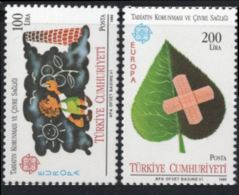 Turkey 1986 Cept  Environment Care 2 Values MNH Leave With Plaster, Smoking Chimney Child - Environment & Climate Protection