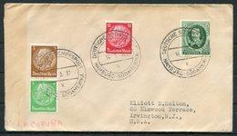 1937 Germany DR Deutsche Seepost Hamburg Sudamerika LA CORUNA Ship Schiffspost Cover - Deutschland