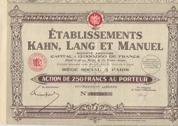 ETABLISSEMENT KAHN, LANG ET MANUEL - ACTION DE 250 FRANCS - ANNEE 1930 - Industrie