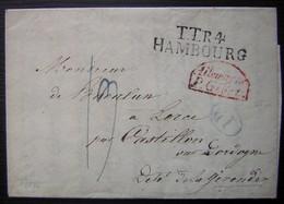 """1834 Lettre De Hambourg Pour Castillon Sur Dordogne (Gironde)  """" TTR4 Hambourg """" & """" Allemagne Par Givet """" En Rouge - Marcophilie (Lettres)"""