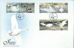 Isle Of Man Set On FDC - Swans