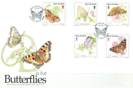 Isle Of Man Set On FDC - Butterflies