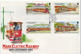 Isle Of Man Set On FDC - Tramways