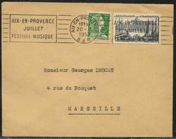 Lettre Affr. 12 F Marianne De Muller Et 8 F Marseille Omec Aix-en-Provence 20.7.1957 - 1955- Marianne De Muller
