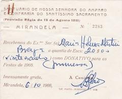 PORTUGAL - MIRANDELA - RECIBO - SANTUÁRIO DE NOSSA SENHORA DO AMPARO E CONFRARIA DO SANTÍSSIMO SACRAMENTO 1966 - Portugal