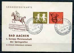 """Germany 1958 Sonderkarte EM Springreiter/Hors Mit  Mi.Nr.281/82 U. SST""""Aachen-Europameisterschaft D.Springreiter""""1 Karte - Hippisme"""