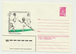 45-725 Russia USSR Postal Stationery Cover 1979 Moscow 1980 Olympics Classic Fencing - 1923-1991 USSR