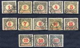 BOSNIA & HERZEGOVINA 1904 Postage Due Set Of 13 Used.  Michel Porto 1-13 - Bosnia And Herzegovina