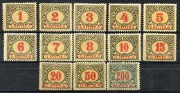 BOSNIA & HERZEGOVINA 1904 Postage Due Set Of 13 MH / *.  Michel Porto 1-13 - Bosnia And Herzegovina