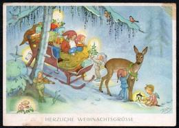 B9926 - Charlotte Baron Glückwunschkarte Weihnachten - Zwerg Heinzelmännchen Engel Angel Winterlandschaft - Weihnachten