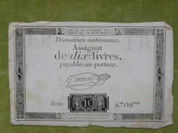 Assignat De 10 Livres Du 24 Octobre 1792 Cf Lafaurie N°161 Signé TAISAUD - Assignats & Mandats Territoriaux