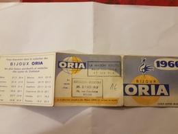 CALENDRIER 1961 BIJOUX ORIA BARBEAU ROUEN - Calendriers
