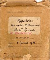 Ardennes.SEDAN.PTT.1931 Répertoire Poste Restante Et Réexpédition + Carte - Vieux Papiers