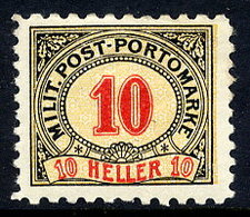 BOSNIA & HERZEGOVINA 1904 Postage Due 10 H. Perforated 9¼:10½ LHM / *.  Michel Porto 9G - Bosnia And Herzegovina
