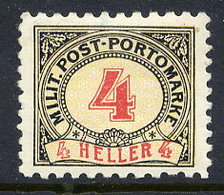 BOSNIA & HERZEGOVINA 1904 Postage Due 4 H. Perforated 9¼:10½ LHM / *.  Michel Porto 4G - Bosnia And Herzegovina