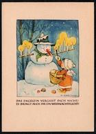 B9932 - TOP Marianne Drechsel Glückwunschkarte Weihnachten - Spruchkarte - Schneemann - Driesen Verlag Berlin - Weihnachten