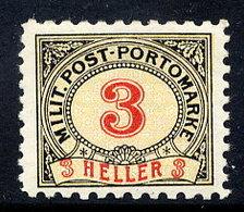 BOSNIA & HERZEGOVINA 1904 Postage Due 3 H. Perforated 9¼:10½ LHM / *.  Michel Porto 3G - Bosnia And Herzegovina