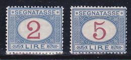 Vittorio Emanuele II Segnatasse 1903 Sassone N° 29-30 £ 2 £ 5  Serie Cpl MNH** - 1900-44 Vittorio Emanuele III