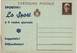 LSAU13 - ITALIE LUOGOTENENZA EP CP ITALIA TURRITA 1L20 AVEC REPIQUAGE PUBLICITAIRE - 5. 1944-46 Lieutenance & Umberto II