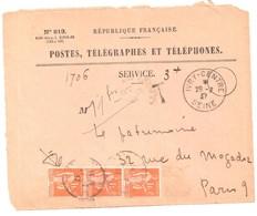 IVRY CENTRE Seine Ob 1937 Devant Enveloppe 819 Recommandée Valeurs Non Recouvrées Taxe 1 F Paix Orange Yv 286 X 2 - Francia