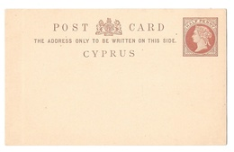 Cyprus H&G 1 Postal Stationary Card 1880 Half Penny Coat Of Arms Victoria - Cyprus (...-1960)