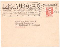 GIVORS Rhône Carte Postale Entête LE MAUSOLEE Revue Technique 12 F Gandon Orange Yv 885 Ob Mécanique 1951 - Covers & Documents