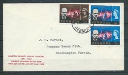 BERMUDES  Enveloppe FDC  24 Janv. 66  Yvert  N° 189 / 191  CHURCHILL - Bermudes