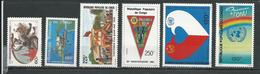 CONGO Scott 734, 727, 728, 733, C344, C345 Yvert 761, 749, 756, 755, PA338, PA339 (6) ** Cote 10,50 $ 1985 - Congo - Brazzaville