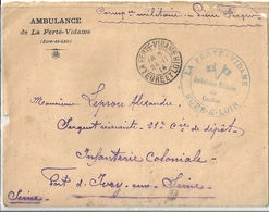 Lettre Avec Cachet La Ferté-Vidame Ambulance Militaire 1914 - Autres