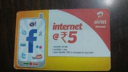 India-airtel-internet-(5 Ruppia)-(10)-31.7.2015-used Card+1 Card Prepiad Free - India