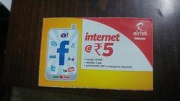India-airtel-internet-(5 Ruppia)-(12)-31.3.2016-used Card+1 Card Prepiad Free - India