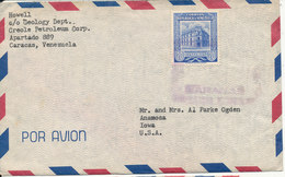Venezuela Air Mail Cover Sent To USA 7-6-1956 Single Franked - Venezuela